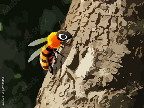 bee on tree
