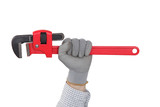 Hand holding an adjustable wrench