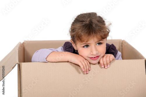 Girl in a cardboard box
