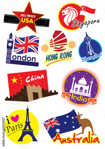 World travel sticker icon set