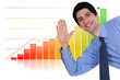 Businessman waving in front of bar chart