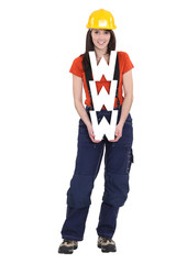 A female construction worker holding a WWW sign.
