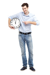 Man pointing at a clock