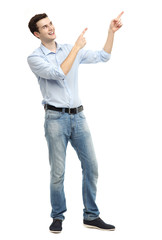 Young guy pointing up