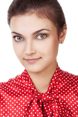 Young girl in a red blouse