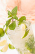 Refreshing lime Mojito cocktail  with a straw hat