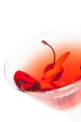 Manhattan Cocktail top view close-up on white background
