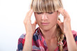 portrait of a woman with headache