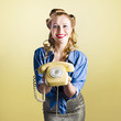 Pin-up hotline phone operator. Call Us!