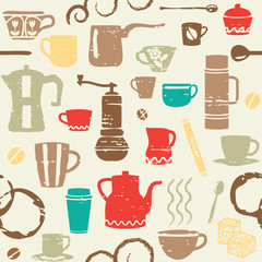 Seamless pattern with scratched coffee related elements