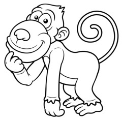 Vector illustration of Cartoon Monkey - Coloring book