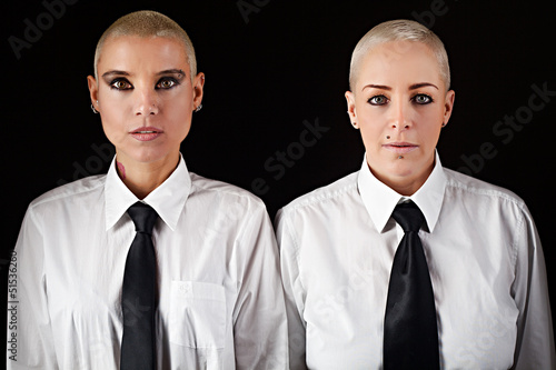beautiful women with short hair wearing mens clothes