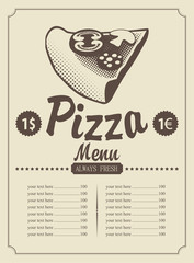 price menu with a piece of pizza