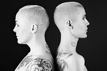 beautiful women with short hair and tattoos