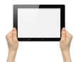 Woman hands holding tablet PC on white background .