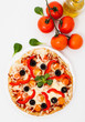 Pizza, tomatoes and olive oil