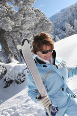 Older woman skier