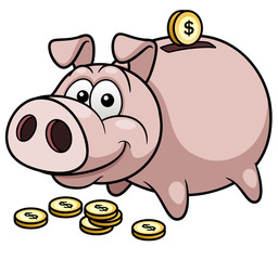 Vector illustration of Happy Piggy Bank