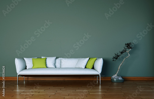 canvas print picture weisses Sofa mit Pflanze