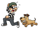 Vector illustration of thief running a dog