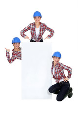 Montage of happy handywoman with white sign for message