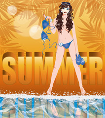 Summer time card with sexy girl in topless,  vector