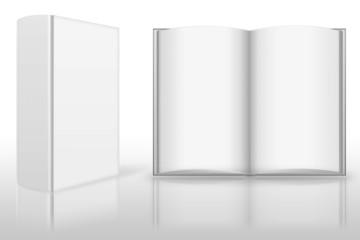 Buch weiß, aufgeklappt isoliert, blank