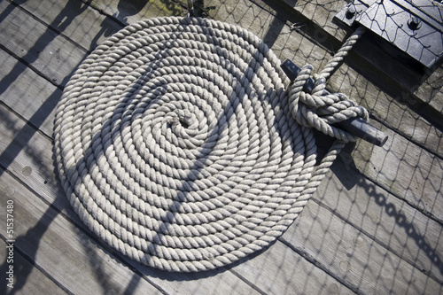 Round rope on ship
