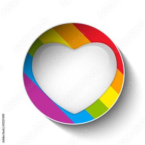 Gay Flag Heart Striped Sticker
