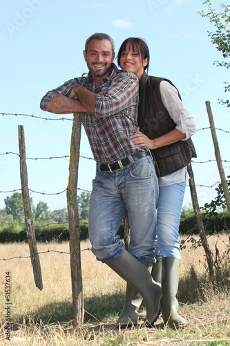 young couple of farmers
