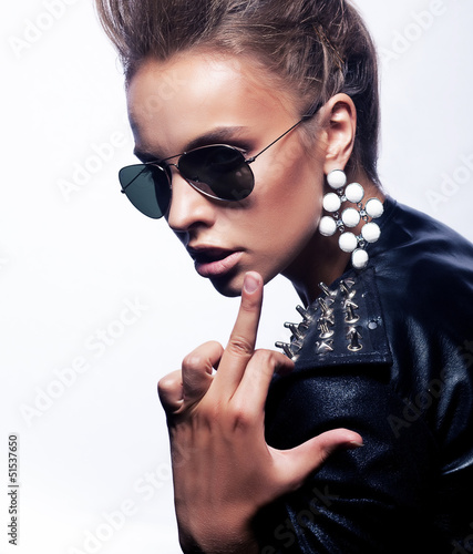 Unkind Crazy Woman Rocker Showing her Middle Finger - Fuck Sign