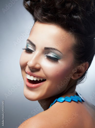 Bliss. Cheerful Woman's Face with Happy Smile. Happiness