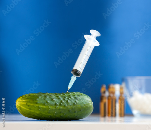 Cucumber with syringe. Bio genetics research of food