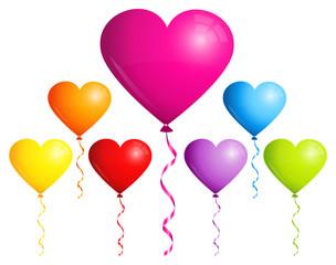 Set 7 Balloons Hearts Colors