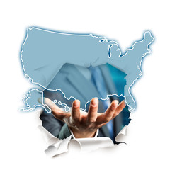 Hand präsentiert USA