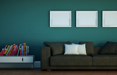 Sofa vor grüner Wand