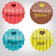 Badges rétro Fête des Mères/pères