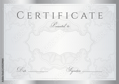 Certificate / Diploma template. Silver background, borders