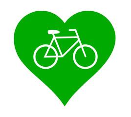 Herz grün Fahrrad