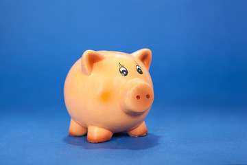 Piggy bank on blue