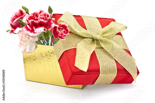 Festive gift box isolated on white background