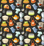 Seamless pattern with kitchen tools and cooking icons.