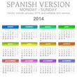 2014 Spanish vectorial calendar