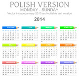 2014 Polish vectorial calendar with crayons