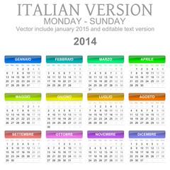 Calendario 2014 vettoriale Italiano