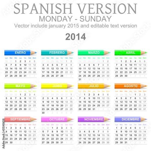 2014 calendar with crayons spanish vector version
