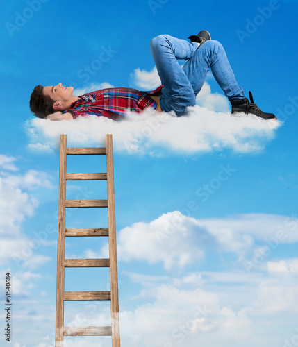 Person relaxing on a cloud