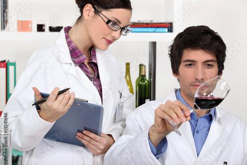 Testing wine in a laboratory