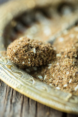 za'atar spice, mix of thyme, herbs and sesame seeds