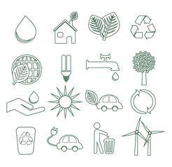 Set 1 icônes écologiques pictogramme